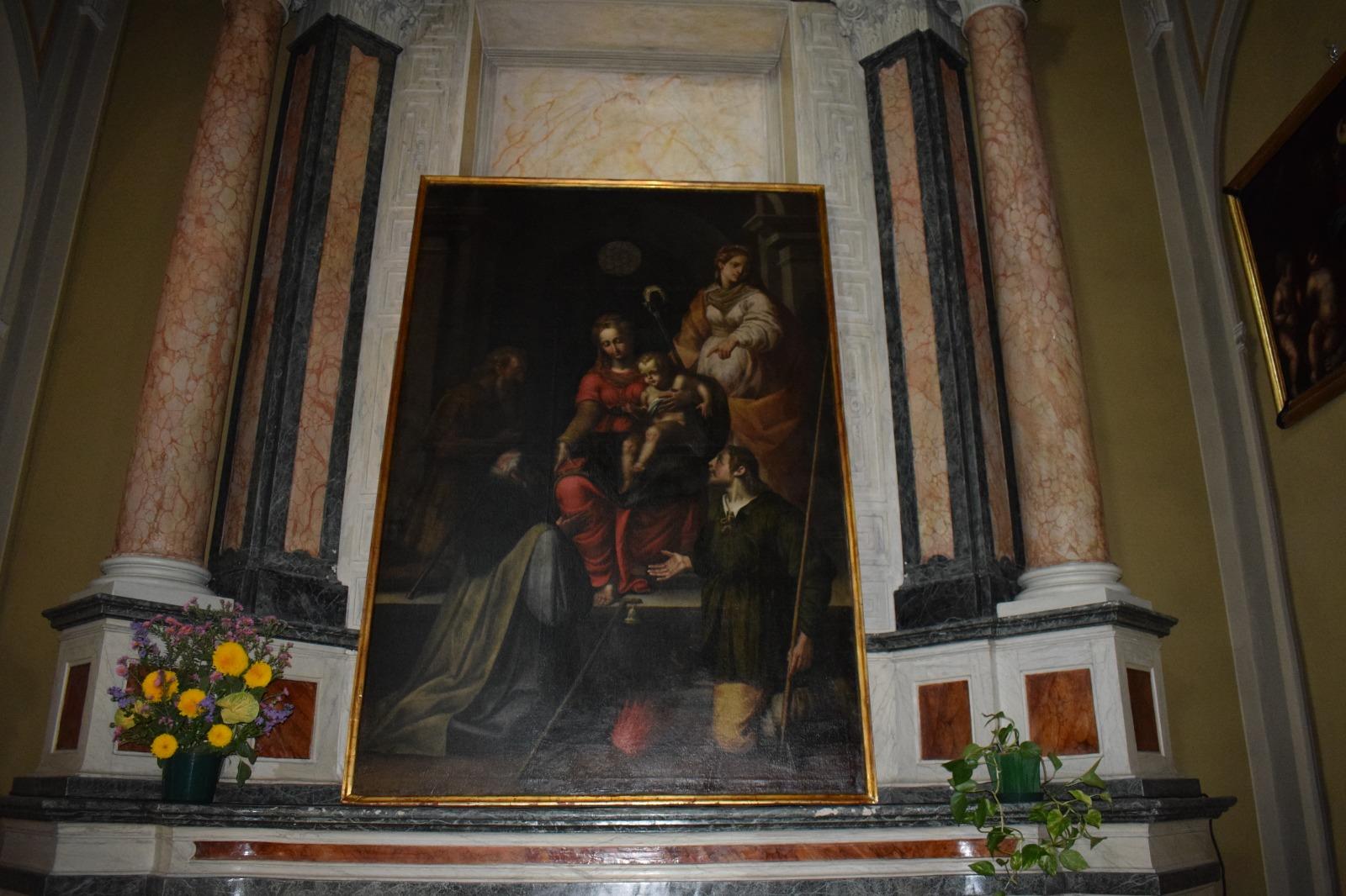 Presentazione dipinto Madonna in trono con santi (14)