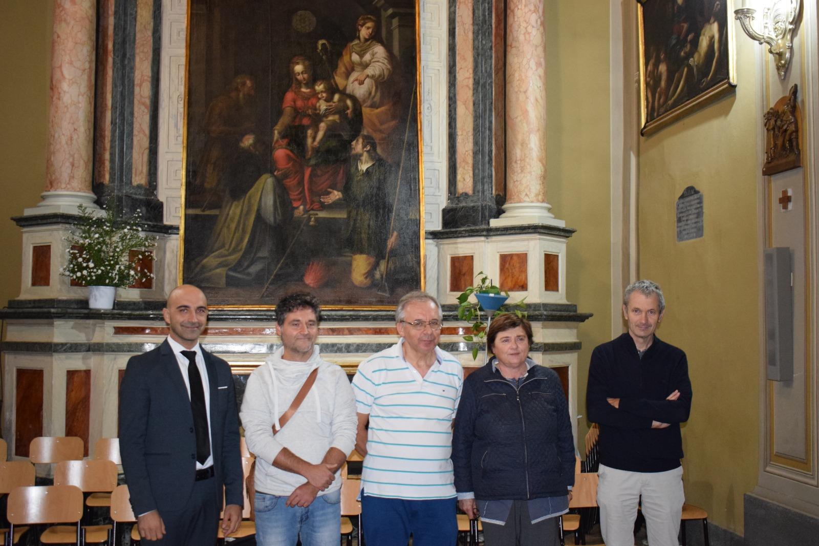 Presentazione dipinto Madonna in trono con santi (2)