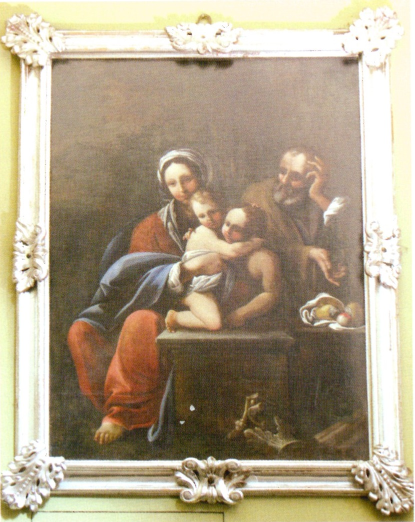 Uno dei quadri conservati nella nostra chiesa che ritrae la Sacra Famiglia, dipinto ad olio risalente al sec. XVII.