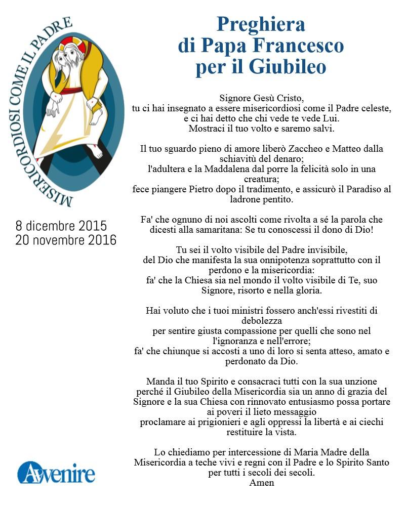 Clicca qui per scaricare la preghiera di Papa Francesco.