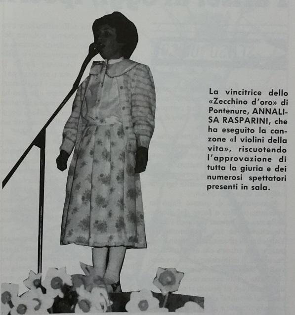 """La vincitrice della prima edizione dello """"Zecchino d'oro di Pontenure"""", Annalisa Rasparini."""