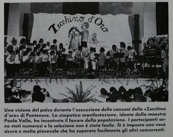 """Una bella immagine del palco del teatro OMI che nel lontano 1987 ha ospitato la prima edizione """"in salsa """"pontenurese"""" dello """"Zecchino d'oro"""""""